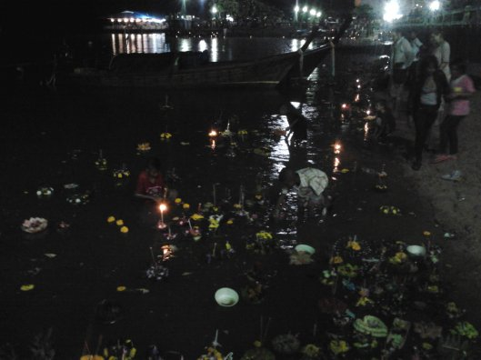 along the river (Krabi) , Loy Krathong festival..