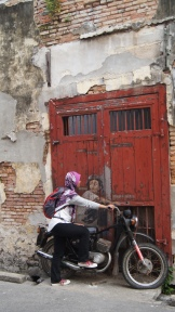 ~Street art, Penang...Boy on his old motorcycle..