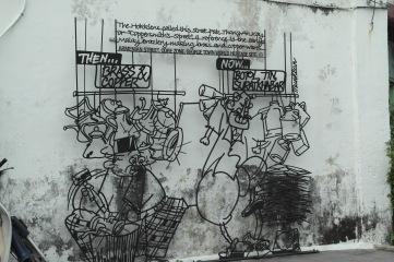 ~Street art, Penang...botol, tin, suratkhabar..