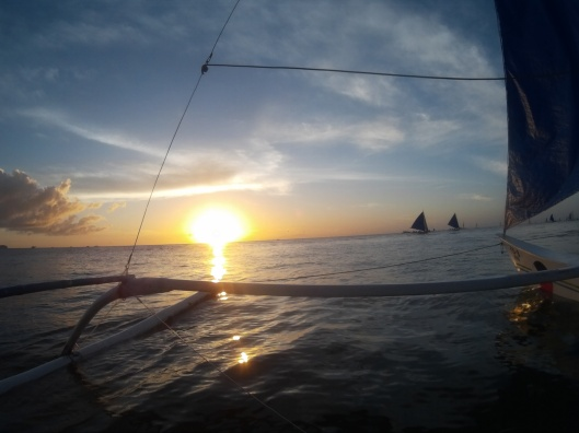 Paraw sailing in Boracay (Sunset)