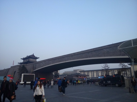 city wall of xian and xian railway station