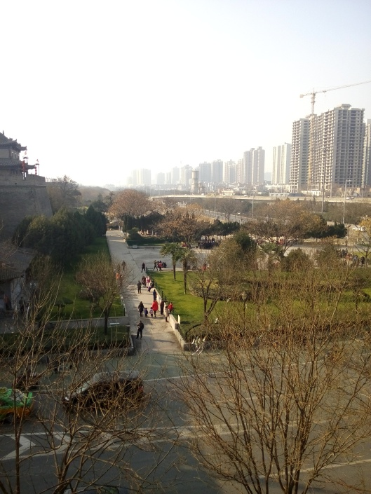 view from xian city wall, china
