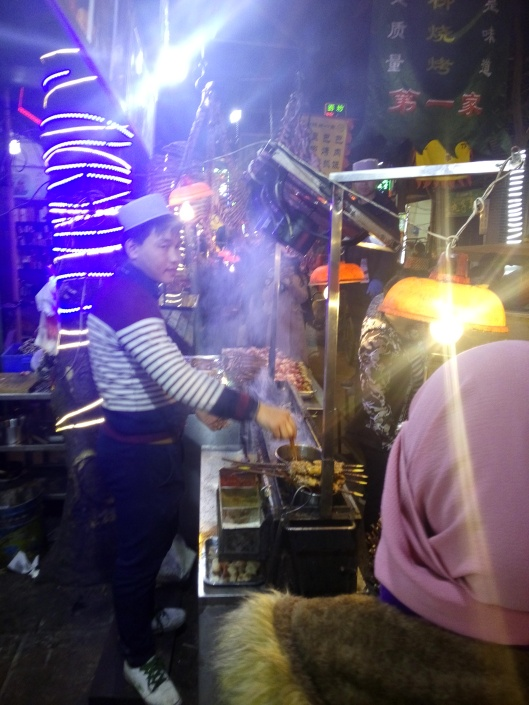 grilled lamb skewer at muslim quarter xian, china