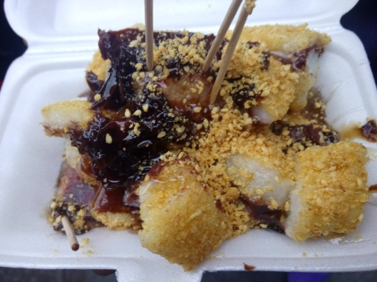 sticky glutinous rice cake with red bean paste, xian muslim street